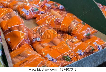 Packed Carrots For Sale At Israeli Food Supermarket
