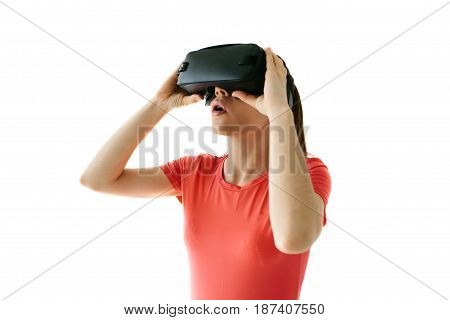 Woman with glasses of virtual reality. Future technology concept. Modern imaging technology. White background.