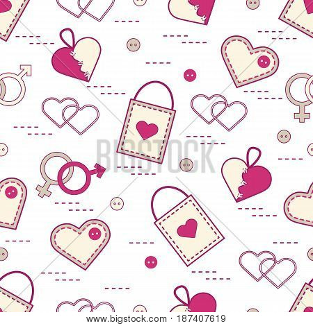 Cute Seamless Pattern With Variety Romantic Elements. Greeting Card Valentine's Day.