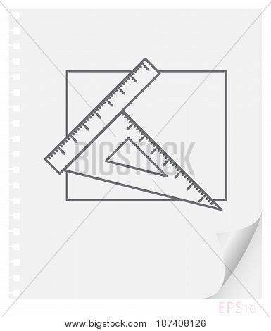 Vector linear illustration of drawing accessories on a sheet of paper with a curved corner and holes from springs school line icon.