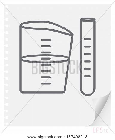 Vector linear illustration of chemical vessels on a sheet of paper with a curved corner and holes from springs school line icon.