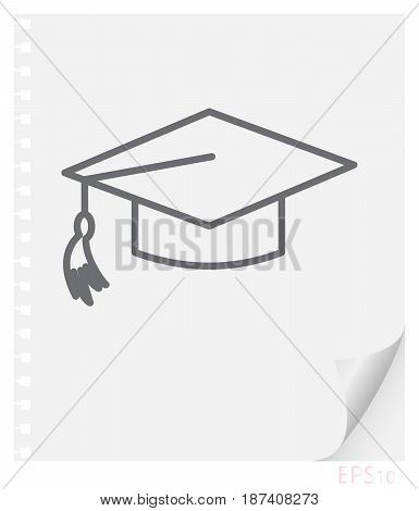 Vector linear illustration of a graduate schoolbag with a tassel on a sheet of paper with a curved corner and holes from springs a school line icon.