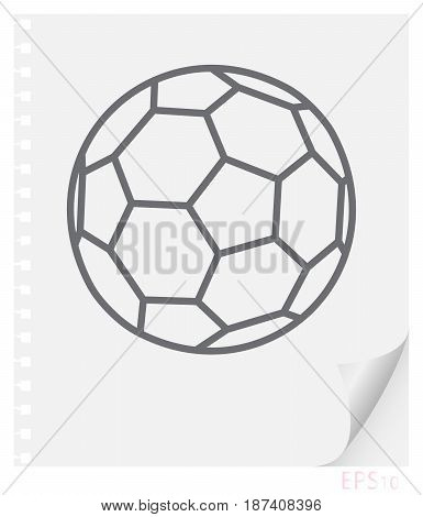 Vector linear illustration of a soccer ball on a piece of paper with a curved corner and holes from springs school line icon.