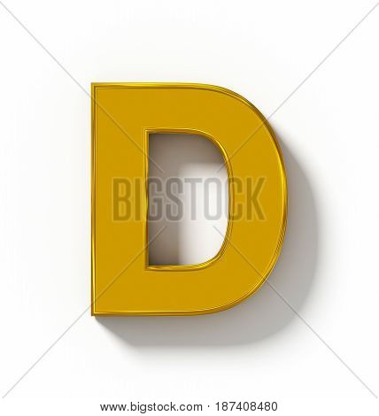 Letter D 3D Golden Isolated On White With Shadow - Orthogonal Projection