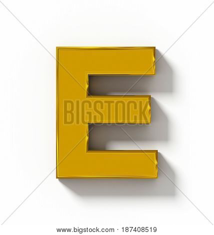 Letter E 3D Golden Isolated On White With Shadow - Orthogonal Projection