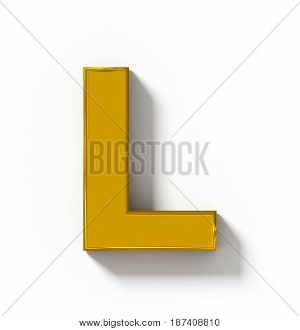 Letter L 3D Golden Isolated On White With Shadow - Orthogonal Projection