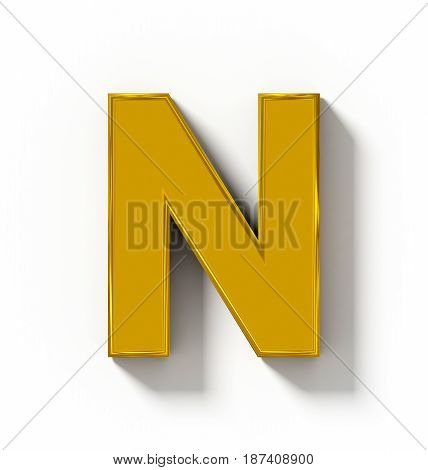 Letter N 3D Golden Isolated On White With Shadow - Orthogonal Projection