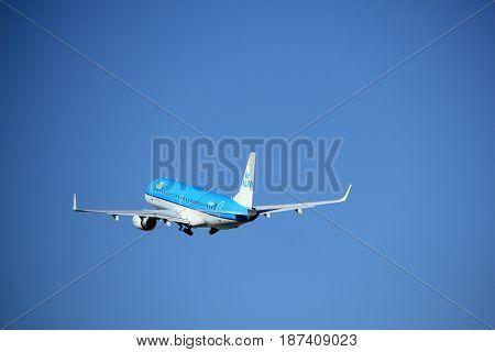 Amsterdam the Netherlands - August 18th 2016: PH-EXA KLM Cityhopper Embraer ERJ-190STD taking off from Polderbaan Runway Amsterdam Airport Schiphol