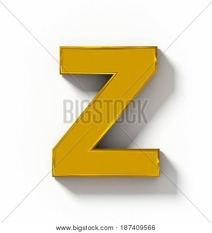 Letter Z 3D Golden Isolated On White With Shadow - Orthogonal Projection