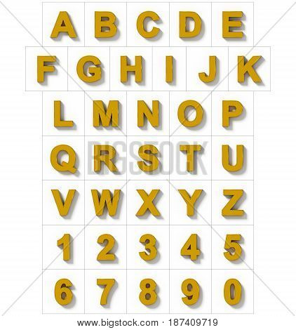 Letters And Numbers 3D Golden Isolated On White With Shadow - Orthogonal Projection