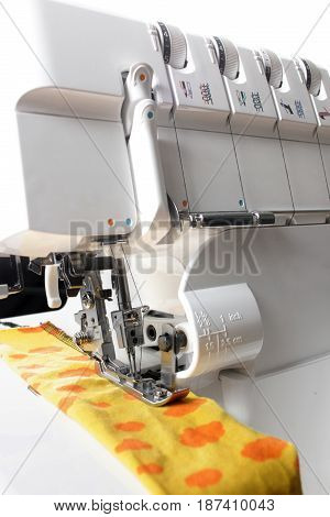 Overlock sewing machine - view on working area and machine front