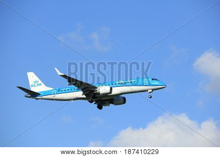 Amsterdam the Netherlands - May 20th 2017: PH-EZC KLM Cityhopper Embraer ERJ-190STD approaching Schiphol Polderbaan runway