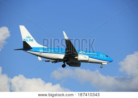 Amsterdam the Netherlands - May 20th 2017: PH-BGI KLM Royal Dutch Airlines Boeing 737 approaching Schiphol Polderbaan runway