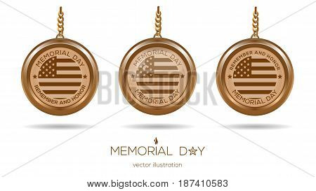 Gold medallions set for Memorial Day in USA. Memorial Day design concept. Remember and Honor. Vector illustration
