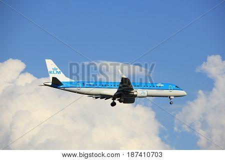 Amsterdam the Netherlands - May 20th 2017: PH-EXA KLM Cityhopper Embraer ERJ-190STD approaching Schiphol Polderbaan runway
