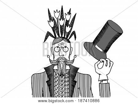 Man with flowers on his head. Vector illustration depicting a man with flowers on her head