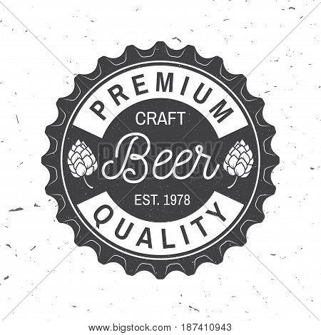 Craft Beer badge. Vector illustration. Vintage design for bar, pub and restaurant business. Coaster for beer.
