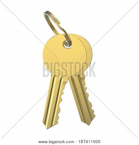 3D illustration gold key with keychain on a white background