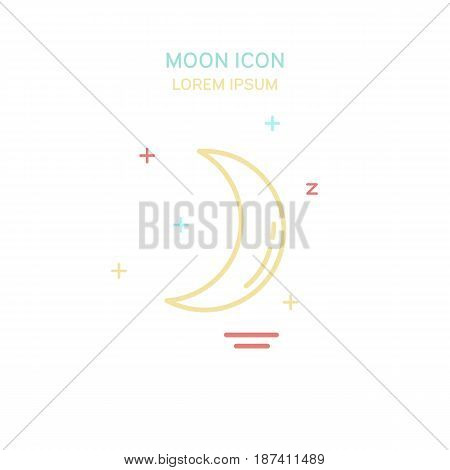 Color moon line style icon. Vector illustration.