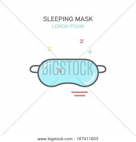 Sleeping mask color line style icon. Isolated vector illustration.