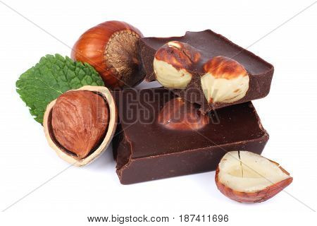 chocolate candies sweets with hazelnut isolated on white background