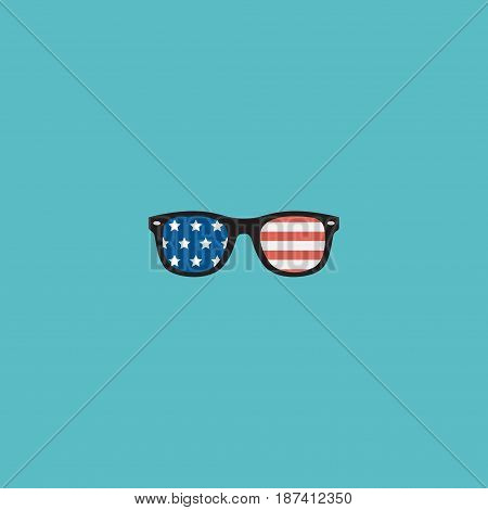 Flat Usa Glasses Element. Vector Illustration Of Flat Spectacles Isolated On Clean Background. Can Be Used As Usa, Glasses And Spectacles Symbols.