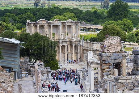 EPHESUS, TURKEY - 6 MAY , 2017: The ruins of the ancient antique city of Ephesus the library building of Celsus, the amphitheater temples and columns. Candidate for the UNESCO World Heritage List