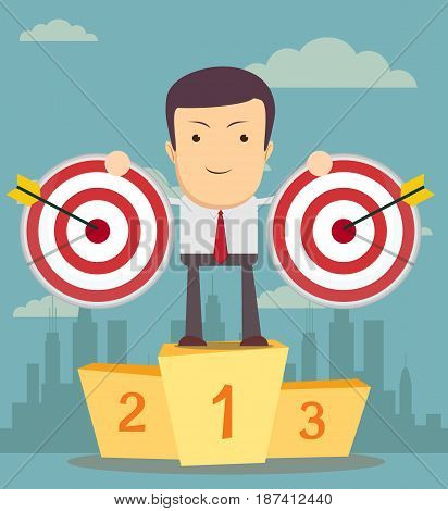 Successful manager or businessman. A man in a suit stand on a pedestal and hold a target with arrow. Vector EPS10.