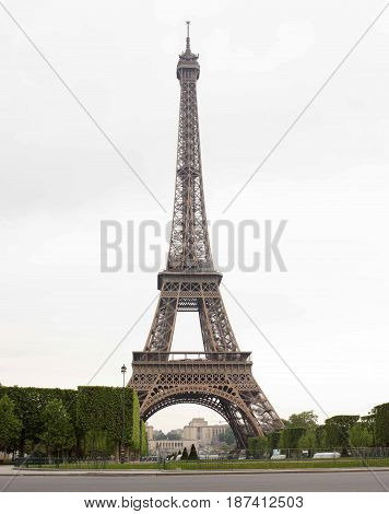 Paris. Eiffel Tower in the morning in cloudy weather