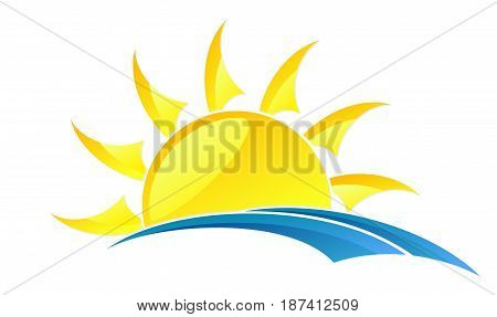 A logo of dawn of the sun with a blue wave.