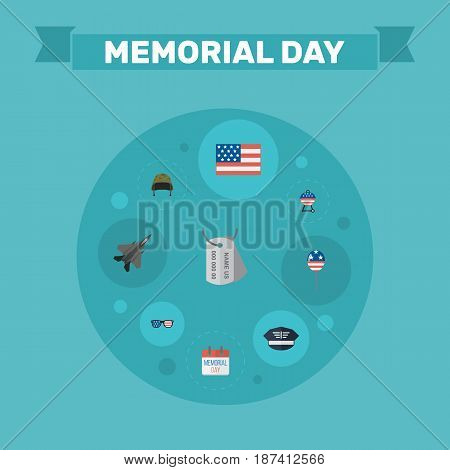 Flat American Banner, History, Aircraft And Other Vector Elements. Set Of Memorial Flat Symbols Also Includes Mom, Banner, Aircraft Objects.