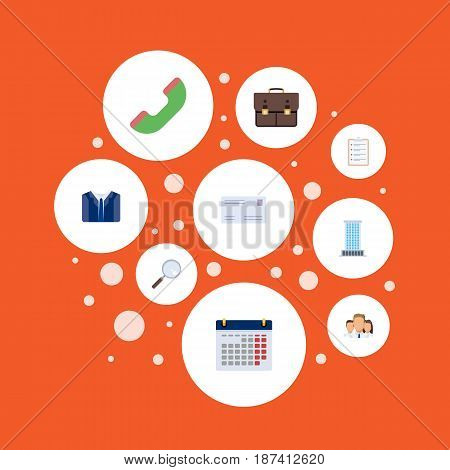 Flat Portfolio, Envelope, Costume And Other Vector Elements. Set Of Employment Flat Symbols Also Includes Unity, Case, Envelope Objects.