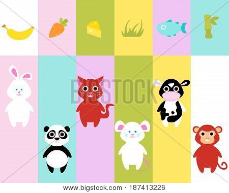 A game for children. Guess what animals eat. Vector illustration