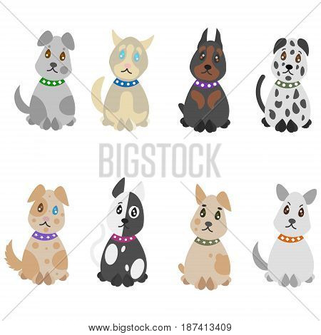 Colorful hand drawn pets set with dogs of different breeds on white background isolated vector illustration