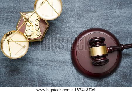 Gavel and scale top view. law attorney lawyer gavel judge scale legal banner concept