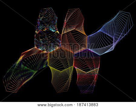 Abstract composition of openwork elements on a black background