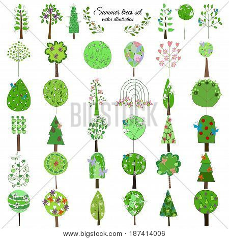 Colored floral botanical green trees collection of different shapes with fruits flowers and birds isolated vector illustration