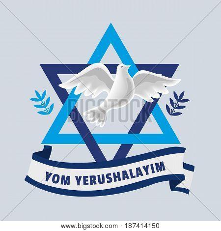 Yom Yerushalayim in English language Jerusalem Day. National holiday in Israel. Jubilee Year of Jerusalem reunification celebration date. Flying dove on background of Israel flag. Vector illustration