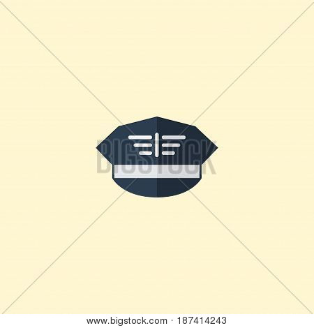 Flat Military Cap Element. Vector Illustration Of Flat Hat Isolated On Clean Background. Can Be Used As Military, Cap And Hat Symbols.