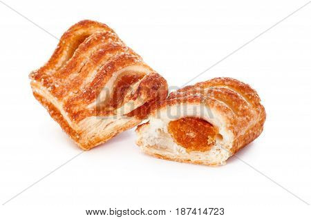 Tasty Puff pastry with fruit jam on white background