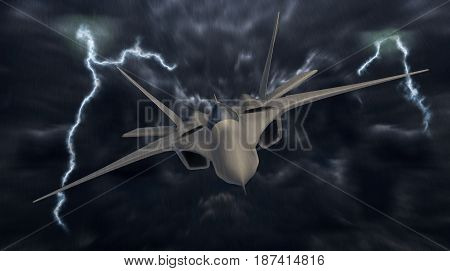 Fighter jet in the deep blue night sky. 3D render