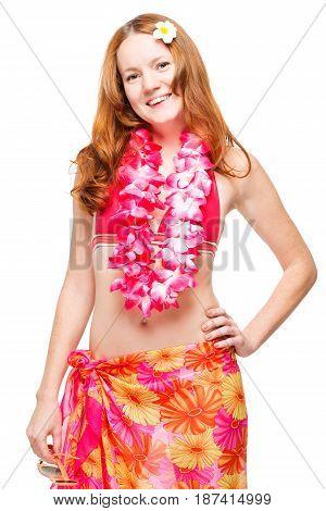 30 Year Old Girl In Bikini And Hawaiian Lei On White Background