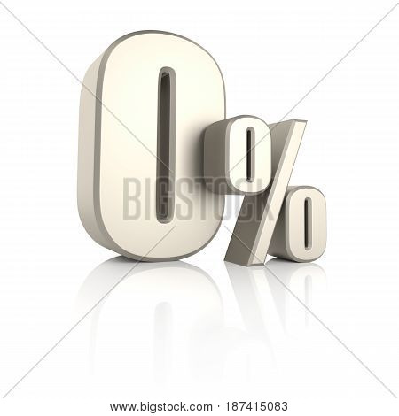 0 percent isolated on white background. 3d render