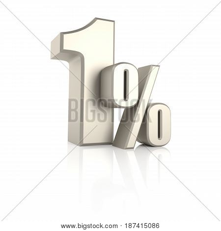 1 percent isolated on white background. 3d render