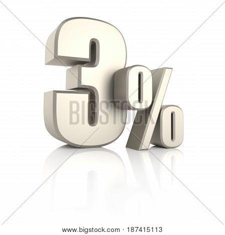 3 percent isolated on white background. 3d render