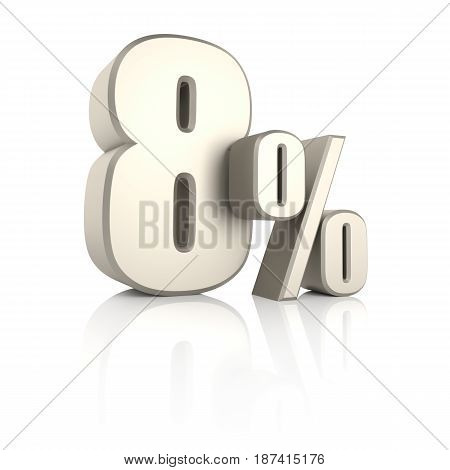 8 percent isolated on white background. 3d render