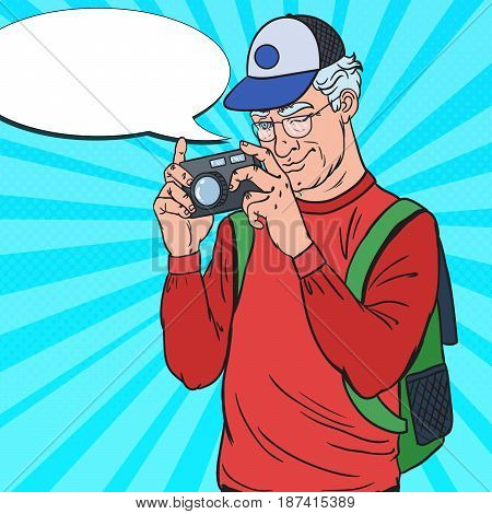 Mature Man Taking Picture with Photo Camera. Senior Tourist. Pop Art Vector illustration