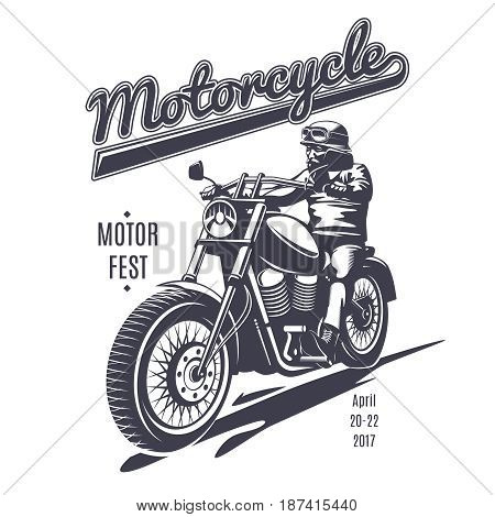Vintage moto fest logotype template with biker riding motorcycle in monochrome style isolated vector illustration