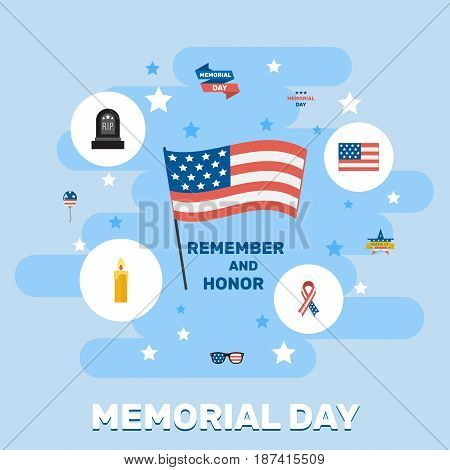Flat Tomb, Spectacles, Fire Wax And Other Vector Elements. Set Of Memorial Flat Symbols Also Includes Tomb, Flag, Rip Objects.