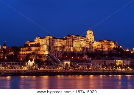 Budapest royal palace at night with illumination, Hungary, Europe. Travel outdoor european background